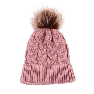 Other - Infant/Baby Warm Knitted Pink Beanie w/ Pom Pom